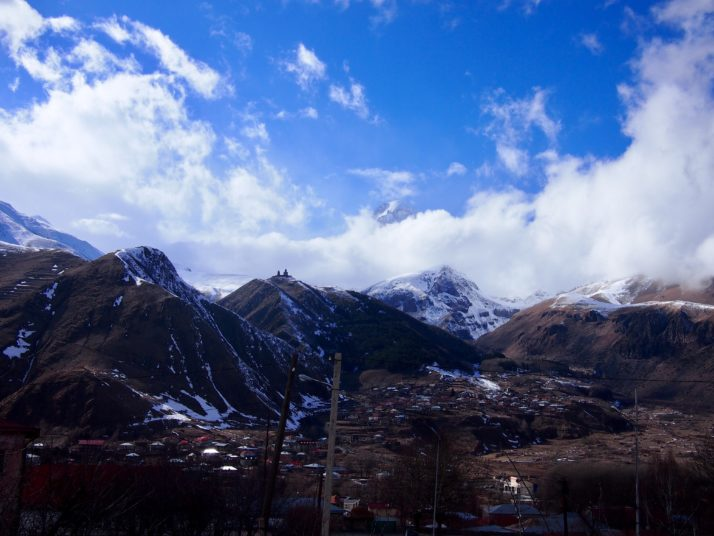 Cloudy Kazbegi view