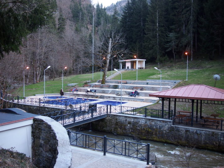 Open air mineral pools in the Borjomi Mineral Water Park, Georgia