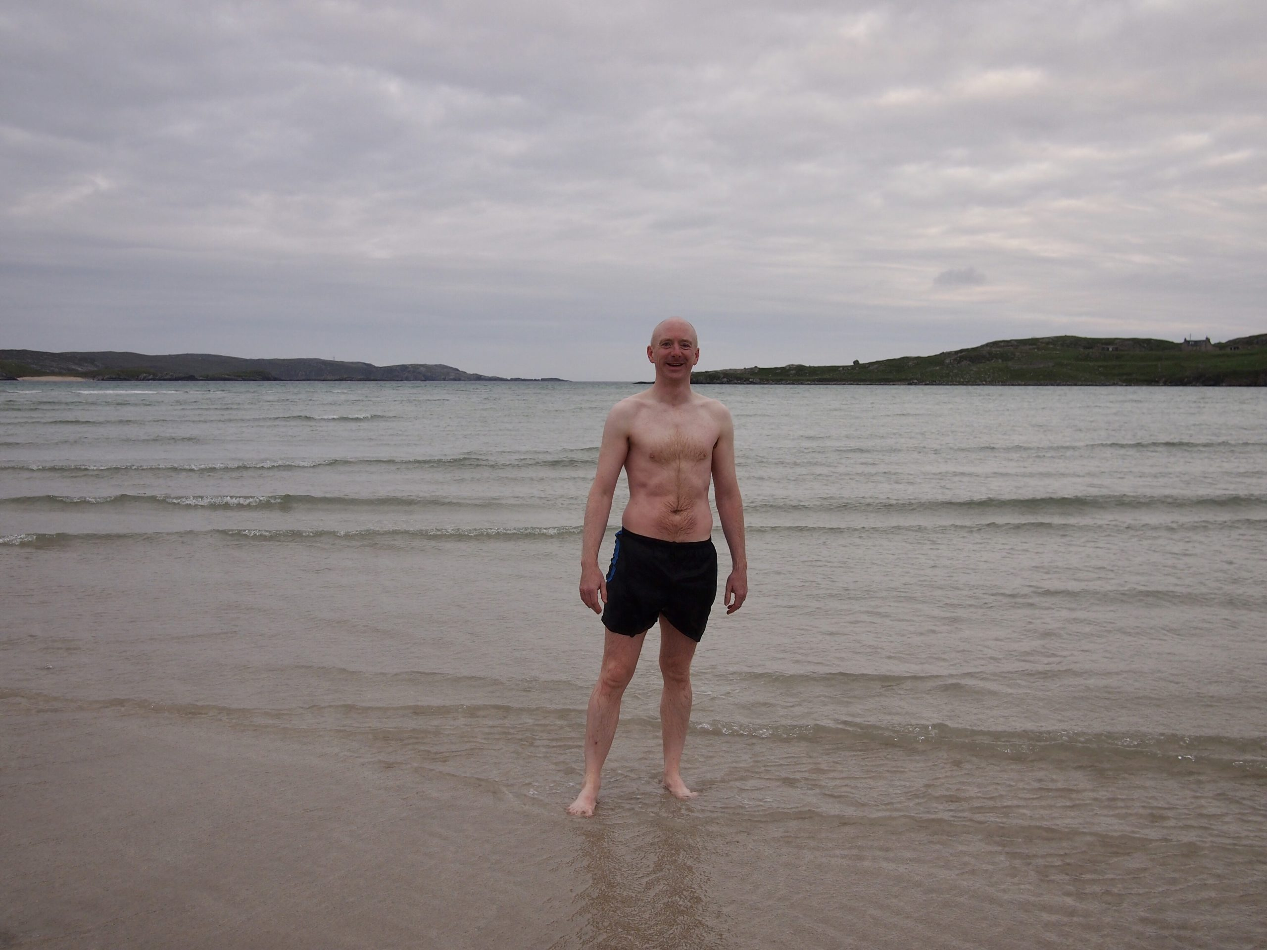 Andrew on Uig Sands after a swim in the sea